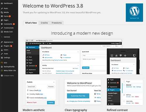 WordPress 3.8 new interface